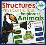 Structures and Functions of Rainforest Animals- Adaptations (AUDIO) Boom Cards™