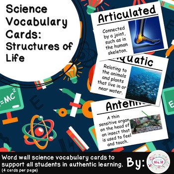 Structures of Life Science Vocabulary Cards
