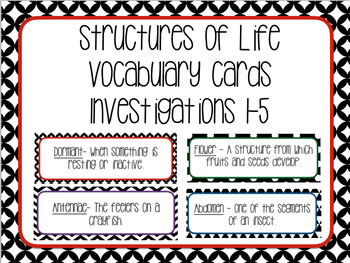 Structures of Life Vocabulary Cards