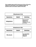 Structures of Life key vocabulary