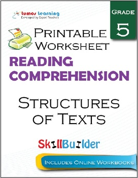 Structures of Texts Printable Worksheet, Grade 5