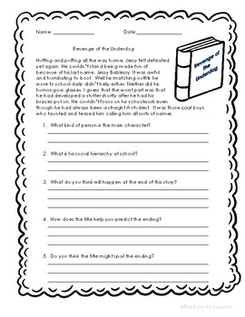 Features within Narrative texts and Questions