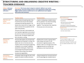 Structuring and Organising Creative Writing