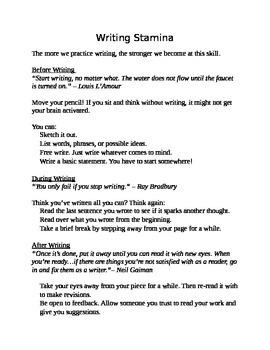 Struggling Writers - Writing Stamina