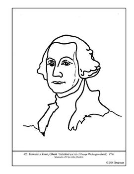 Stuart. George Washington (detail). Coloring page & lesson plan ideas
