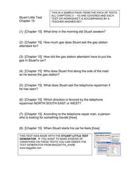 Stuart Little Activities Worksheets: stuart little chapter tests or worksheets by albert baggetta tpt,