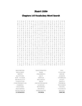Stuart Little Chapters 5-8 Vocabulary Word Search - E.B. White