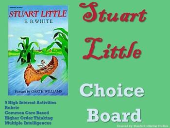 Stuart Little Choice Board Novel Study Activities Menu Book Project Rubric