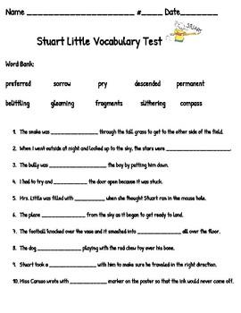 Stuart Little End of Book Vocab Test