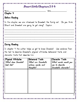 Stuart Little Guided Reading Activities chapters 3 and 4