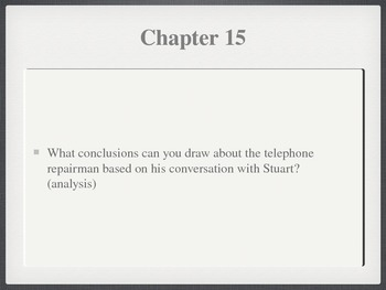 Stuart Little Higher Order Chapter Questions Powerpoint