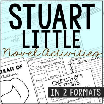 Stuart Little Novel Unit Study Activities, Book Companion Worksheets, Project