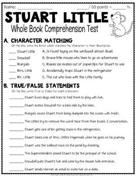 Stuart Little Test: Final Book Quiz with Answer Key