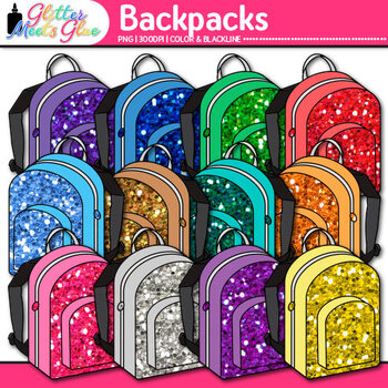 Backpack Clip Art {Rainbow Glitter Back to School Supplies for Worksheets}