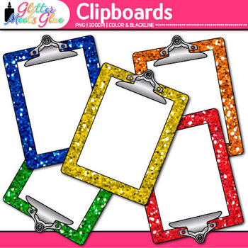 Clipboard Clip Art {Rainbow Glitter Back to School Supplies for Worksheets}