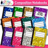 Composition Notebooks Clip Art: School Supply Graphics {Glitter Meets Glue}