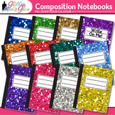 Composition Notebooks Clip Art {Rainbow Glitter Back to Sc