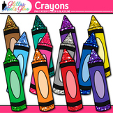 Crayon Clip Art | Rainbow Glitter Back to School Supplies for Worksheets