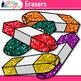 Eraser Clip Art | Rainbow Glitter Back to School Supplies for Worksheets
