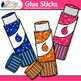 Glue Stick Clip Art | Rainbow Glitter Back to School Supplies for Worksheets