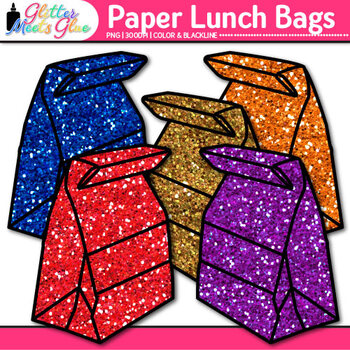 Paper Lunch Bag {Rainbow Glitter Back to School Supplies for Worksheets}