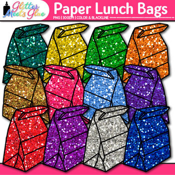 Paper Lunch Bag {Rainbow Glitter Back to School Supplies f