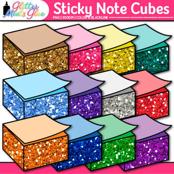 Cubed Sticky Note Clip Art {Rainbow Glitter Back to School Supplies} 2