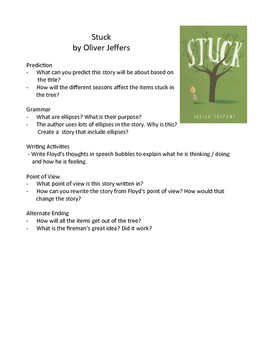 Stuck by Oliver Jeffers - Teaching Literary Skills with Picture Books