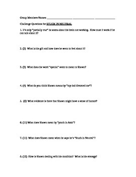 Stuck in Neutral by Terry Trueman: Questions to accompany the reading