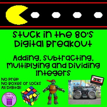 Stuck in the 80s Digital Breakout Adding Subtracting Multiplying Divide Integers