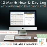 Student 12-Month Hour & Day Log with Automatic Time Calculator