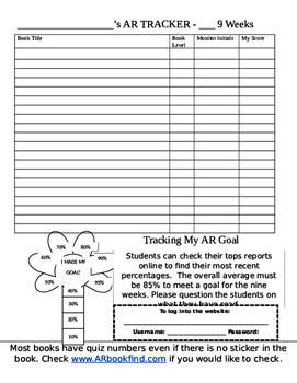 Student AR Tracking Sheet