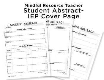 Student Abstract- IEP Cover Sheet
