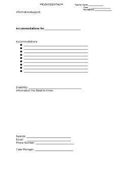 Student Accommodation Sheet