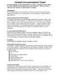 Student Accommodation Sheet