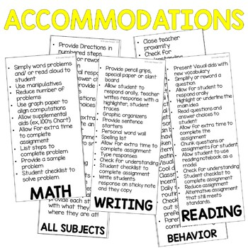 Student Accommodations Flip Chart: A quick reference for teachers
