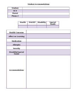Student Accommodations Form