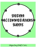 Student Accommodations Sheet