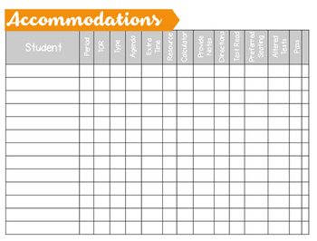 Student Accommodations Spreadsheet