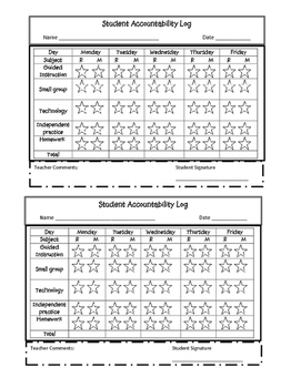 Student Accountability Log  -Great for Student Conferences