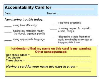 Student Accountability Card