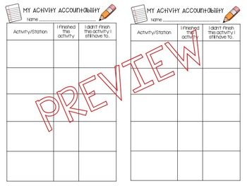 Student Accountability Sheets for Stations/Indpt work/Small Group *EDITABLE*