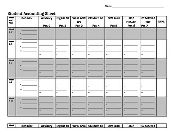 Student Accounting Sheet