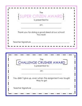 Student Achievement Certificates