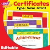 Student Achievement Certificates Bundle | Editable | Print