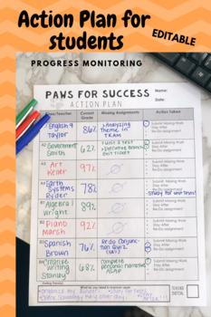 Student Action Plan for Progress Monitoring *Editable*