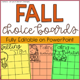 Student Choice Boards: Fall Edition {EDITABLE}
