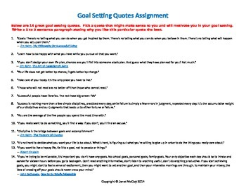 Goals or Good Intentions Student Activity -- Quotes on Goal Setting
