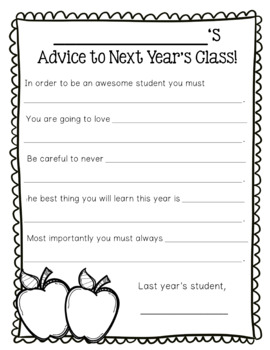 Advice Letters for Teacher & Next Year's Class of Students