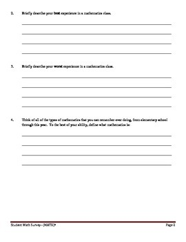 Student Affective Math Survey